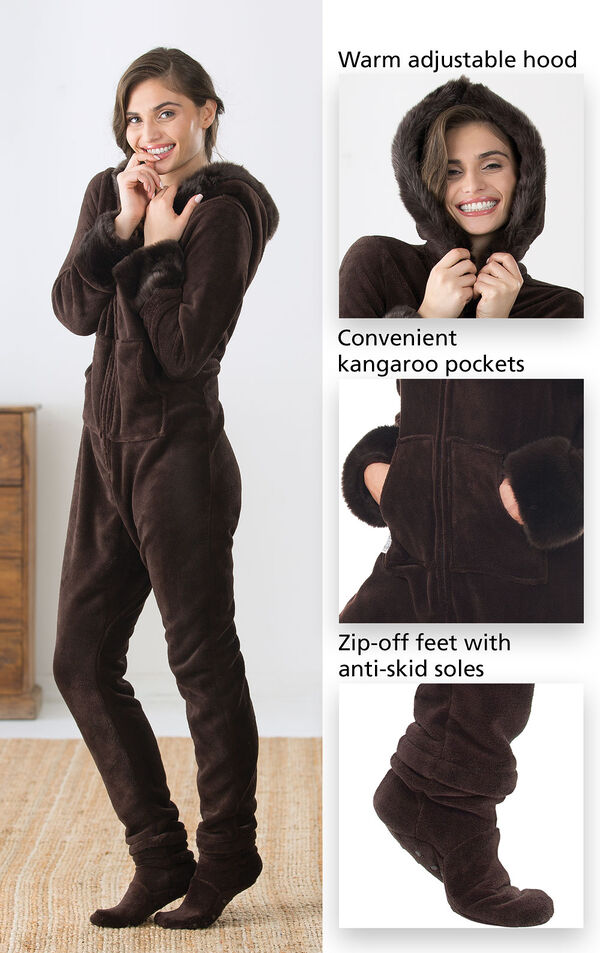 Close-Ups of Hoodie-Footie features which include a warm adjustable hood, convenient kangaroo pockets and zip-off feet with anti-skid soles image number 2