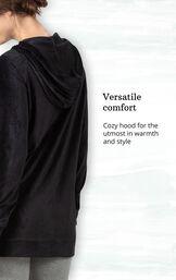 Black Ribbed Velour Hoodie Legging Pajamas for Women image number 3