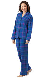 Model wearing Indigo Plaid Flannel Button-Front PJ for Women image number 2