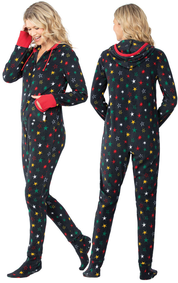 Model wearing Hoodie-Footie - Black Fleece with Stars for Women, facing away from the camera and then to the side image number 1