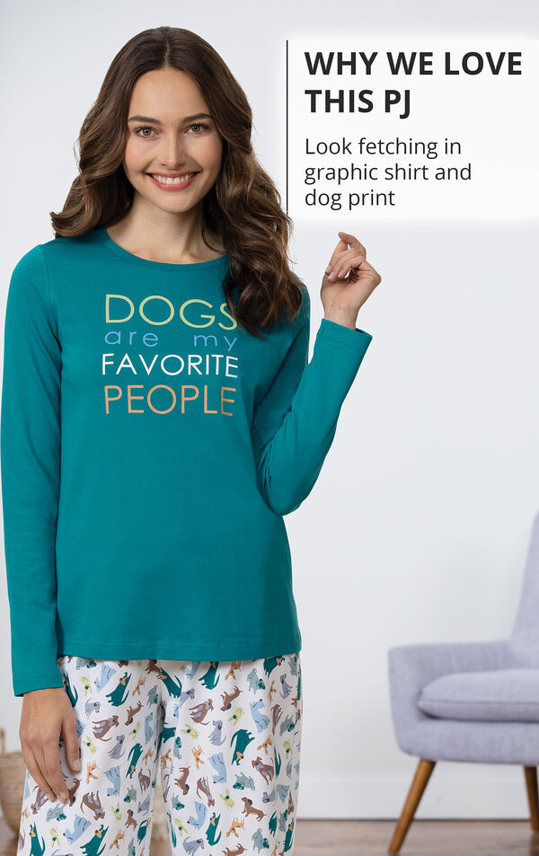WHY WE LOVE THIS PJ: look fetching in graphic shirt and dog print pants image number 2