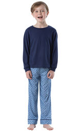 Model wearing Blue Geometric Pattern PJ for Youth image number 0
