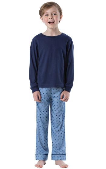 Long Sleeve Boys Pajamas - Blue Geometic