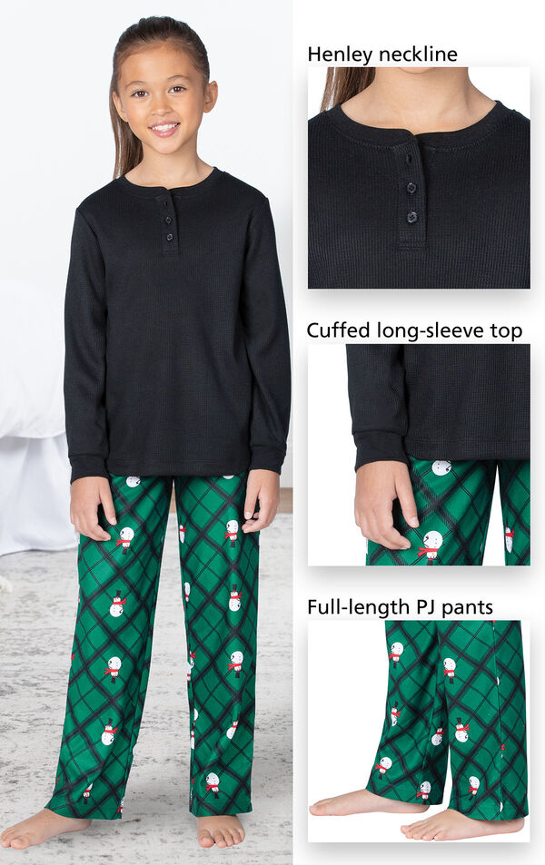 Black and Green Snowman Argyle Henley PJ for Girls have a Henley neckline, cuffed long-sleeve top, full-length PJ pants image number 3