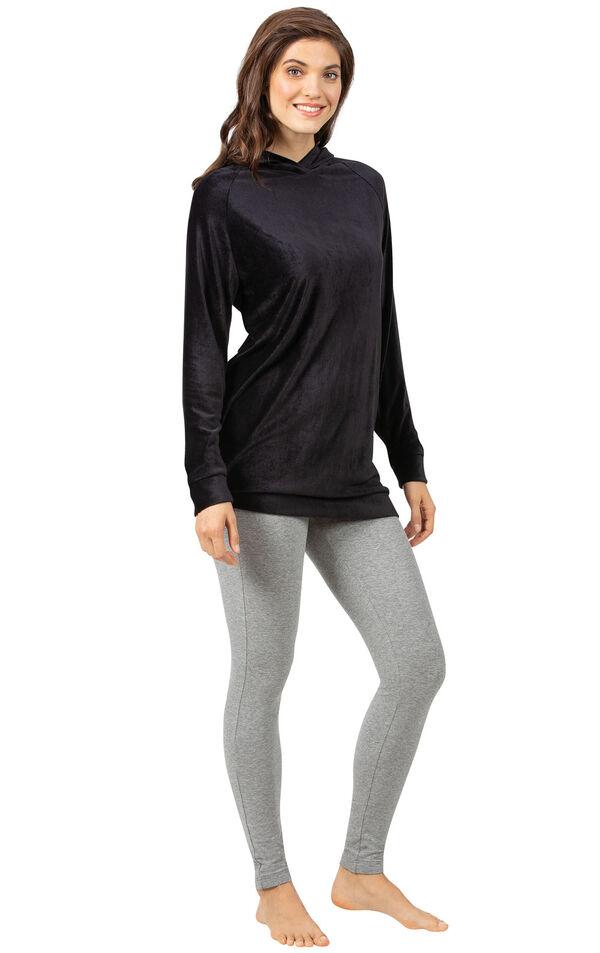 Black Ribbed Velour Hoodie Legging Pajamas for Women image number 0