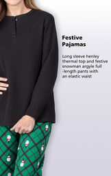 Festive Pajamas - Long sleeve henley thermal top and festive snowman argyle full-length pants with an elastic waist image number 2