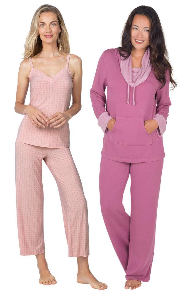 Models wearing Naturally Nude Capri Pajamas - Pink and World's Softest Pajamas - Raspberry. image number 0