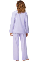 Model wearing Lavender Flannel Button-Front PJ for Women, facing away from the camera image number 2