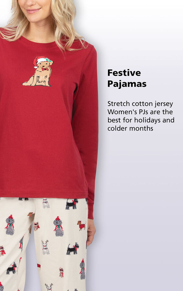 Stretch cotton jersey Women's Christmas Dog PJs are the best for holidays and colder months image number 3
