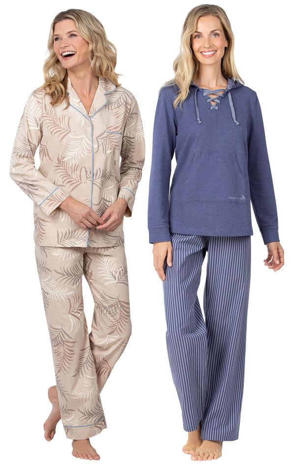 Models wearing Margaritaville Palm Frond Boyfriend Pajamas - Sand and Margaritaville Cool Nights Hoodie Pajamas - Navy. image number 0