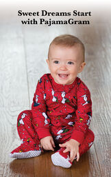 Infant sitting down wearing Snoopy and Woodstock Infant Onesie Pajamas image number 1