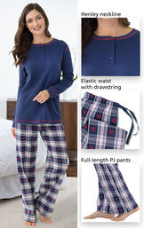 Close-ups of the details of Snowfall Plaid Women's Pajamas such as Henley neckline, elastic waist with drawstring and full-length PJ pants image number 3