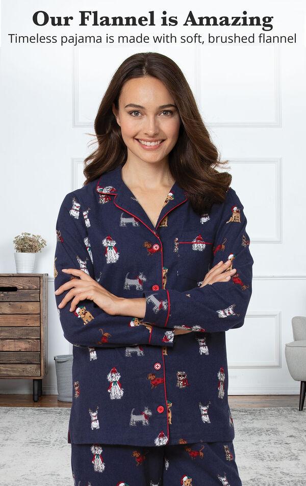 Christmas Dogs Boyfriend Pajamas - Navy image number 2