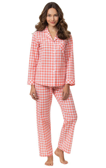 Heart2Heart Gingham Boyfriend Pajamas - Coral
