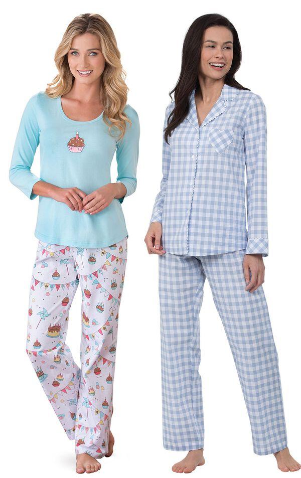 Models wearing Happy Birthday Pajamas and Heart2Heart Gingham Boyfriend Pajamas - Periwinkle. image number 0