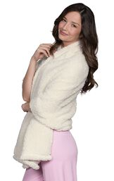 Model wearing White fuzzy Shearling Cuddle Wrap image number 2