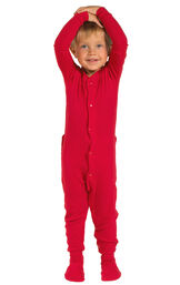 Model wearing Red Dropseat Onesie PJ for Toddlers