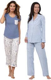 Models wearing Summer Shells Capri Pajamas - Blue and Heart2Heart Gingham Boyfriend Pajamas - Periwinkle image number 0