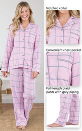 World's Softest Flannel Petite Boyfriend Pajamas feature a notched collar, convenient chest pocket, and full-length plaid pants with grey piping - all shown in images image number 3