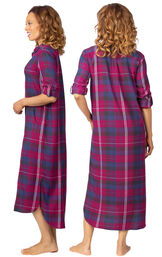 Model wearing Pink Plaid Gown for Women, facing away from the camera and then to the side image number 1