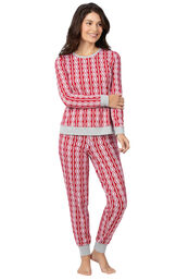 Model wearing Red and White Peppermint Twist PJ for Women