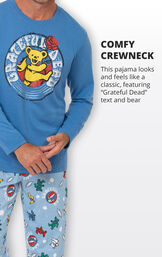 This pajama looks and feels like a classic, featuring Grateful Dead text and Bear image number 3