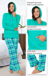 Wintergreen Plaid Hooded Women's Pajamas feature a drawstring hood with 2-snap placket, convenient kangaroo pocket and cuffs with classic trim piping image number 3