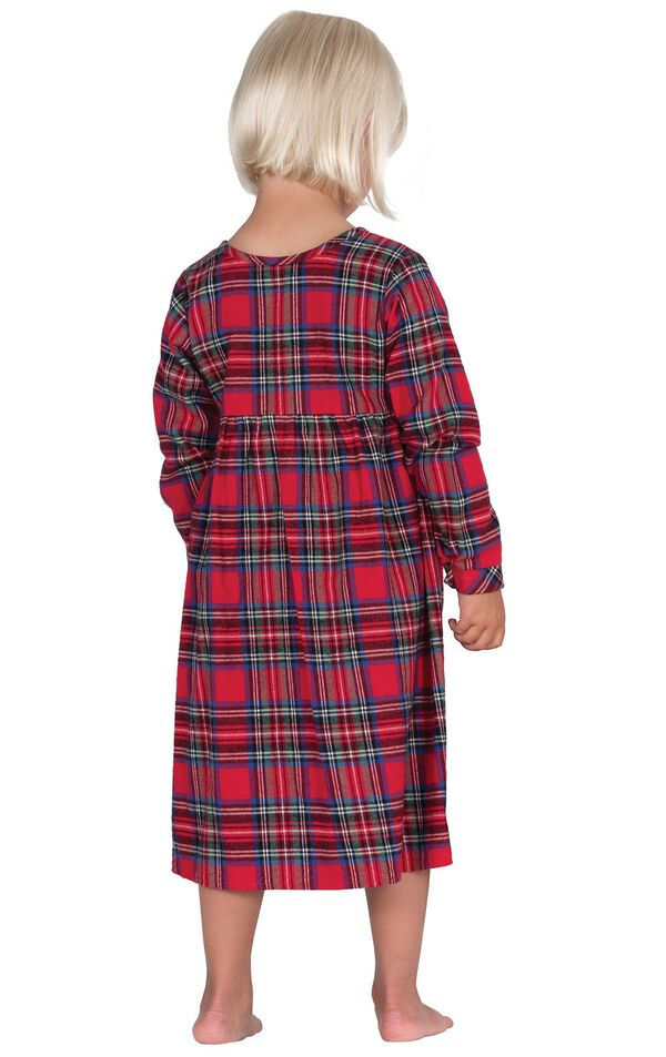 Model wearing Red Classic Plaid Gown for Toddlers, facing away from the camera image number 1
