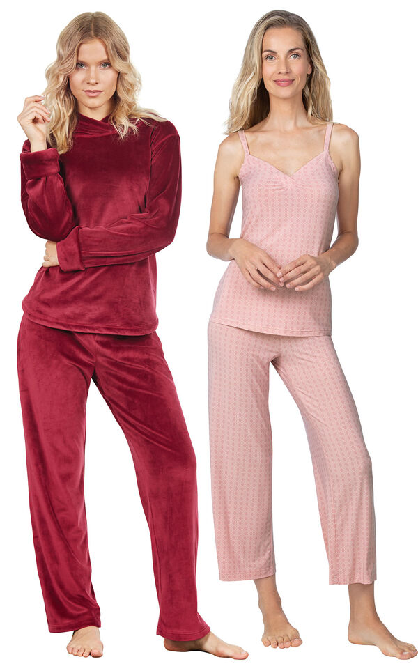 Models wearing Naturally Nude Capri Pajamas - Pink and Tempting Touch PJs - Garnet. image number 0