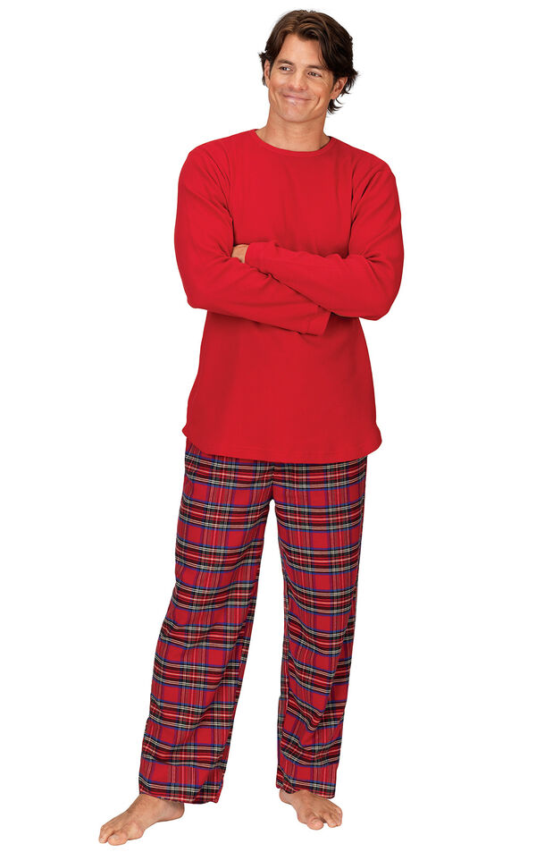 Model wearing Red Classic Plaid Thermal Top PJ for Men image number 0