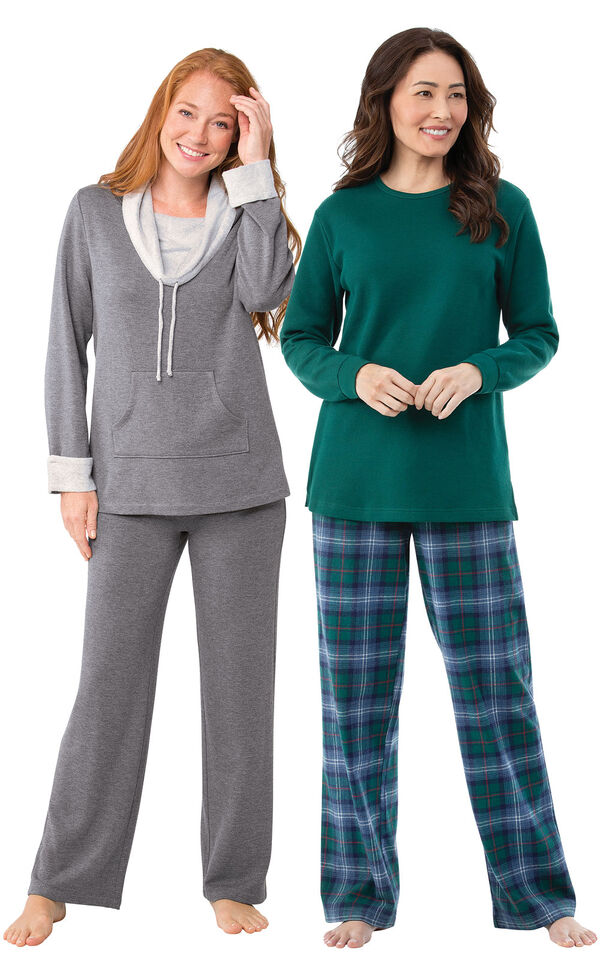 Models wearing Heritage Plaid Thermal-Top Pajamas and World's Softest Pajamas - Charcoal. image number 0