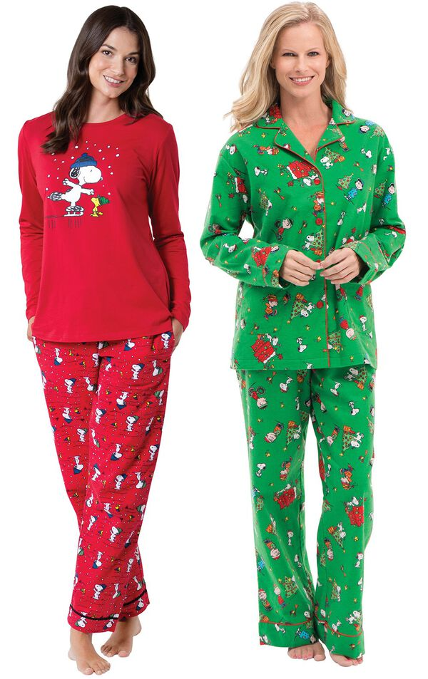 Models wearing Snoopy and Woodstock Pajamas and Charlie Brown Christmas Pajamas. image number 0