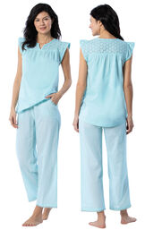 Model wearing Aqua Stripe Flutter Sleeve Capri PJ for Women, facing away from the camera and then to the side image number 1
