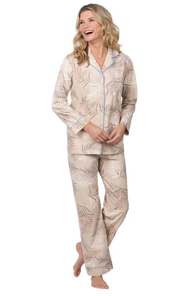 Model wearing Tan Margaritaville Button-Front PJ for Women image number 0