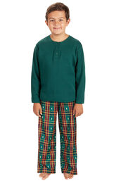 Model wearing Red and Green Christmas Tree Plaid Thermal Top PJ for Kids
