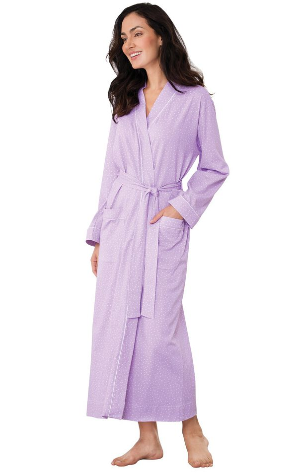Model wearing Purple Pin Dot Wrap Robe for Women image number 0