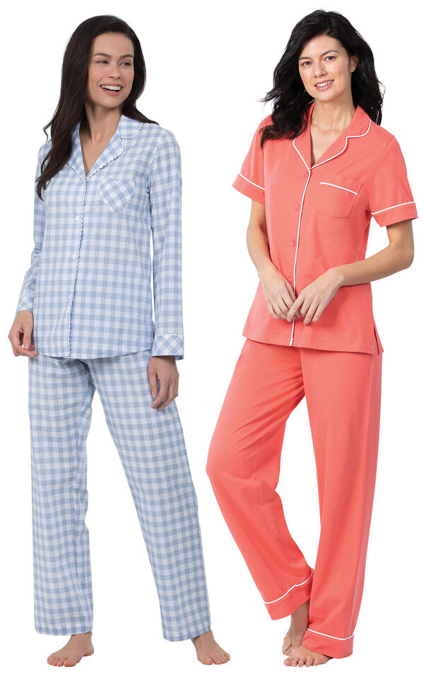 Models wearing Solid Jersey Short-Sleeve Boyfriend Pajamas - Coral and Heart2Heart Gingham Boyfriend Pajamas - Periwinkle image number 0