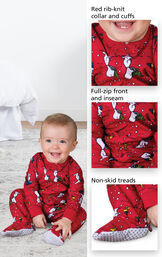 Close-ups of Snoopy and Woodstock Infant Onesie features which include a red rib-knit collar and cuffs, full-zip front and inseam and non-skid treads image number 2