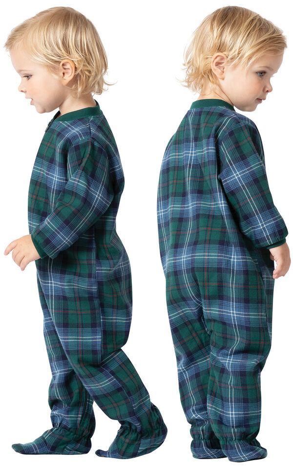 Infant wearing Heritage Plaid Infant Onesie Pajamas, facing away from the camera and facing to the side image number 1
