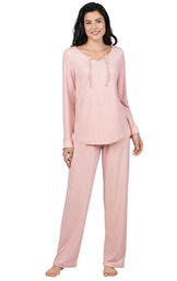 Model wearing Pink Tie-Neck Pajamas for Women image number 0