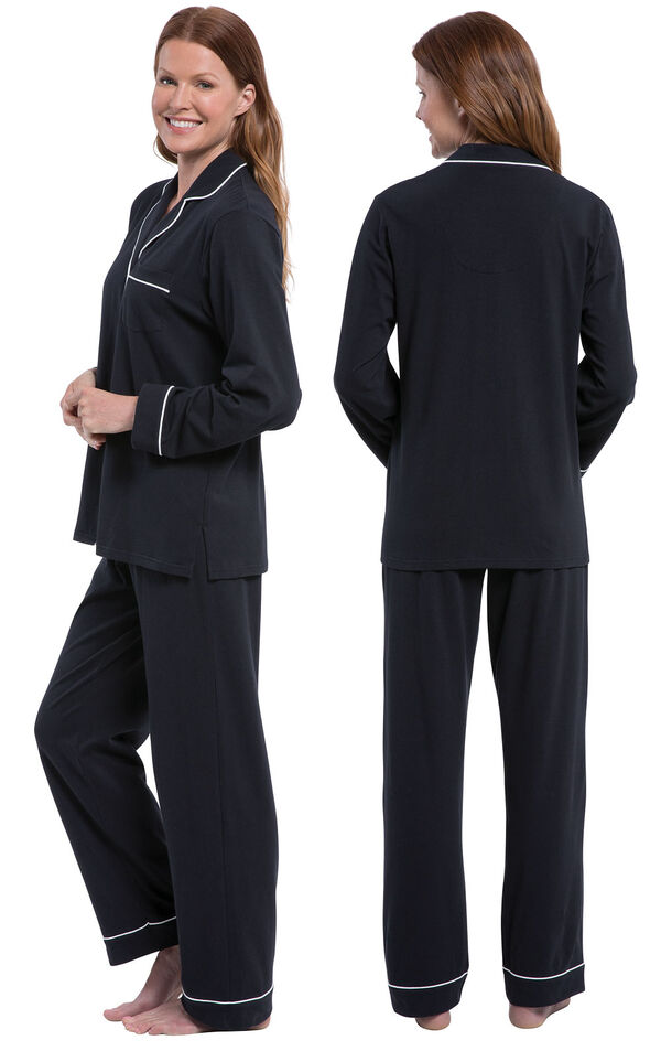 Model wearing Solid Jersey Boyfriend Pajamas - Black, facing away from the camera and then facing to the side image number 1