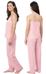 Model wearing Pink Velour Cami PJ with Satin Trim for Women, facing away from the camera and then to the side image number 1