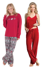 Models wearing Nordic Pajamas and Velour Cami Pajamas - Ruby. image number 0