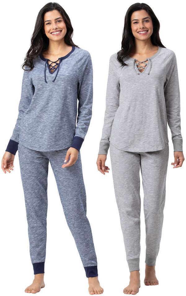 Models wearing Addison MeadowJogger PJs - Blue and Addison MeadowJogger PJs - Gray image number 0