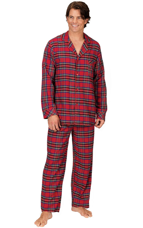 Model wearing Red Classic Plaid Button-Front PJ for Men image number 0