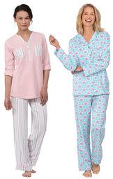 Models wearing Modern Floral Boyfriend Pajamas and Soft Stripe Henley Pajamas image number 0