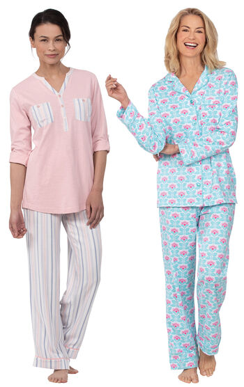 Modern Floral Boyfriend PJs & Soft Stripe Henley PJs