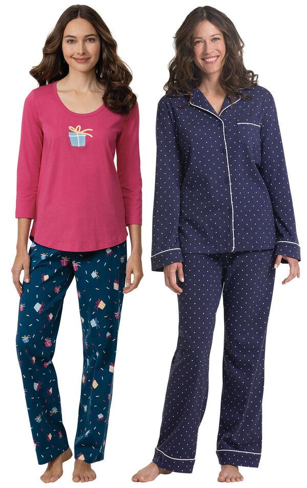 Models wearing Let's Celebrate Pajamas - Navy and Classic Polka-Dot Women's Pajamas - Navy image number 0