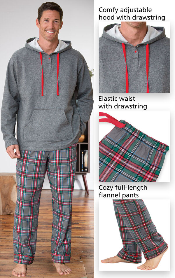 Close-ups of the features of Gray Plaid Hooded Men's Pajamas which include a comfy adjustable hood with drawstring, elastic waist with drawstring and cozy full-length flannel pants image number 3
