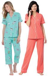 Models wearing Doggy Dreams Short-Sleeve Boyfriend Capri Pajamas - Aqua and Solid Jersey Short-Sleeve Boyfriend Pajamas - Coral image number 0